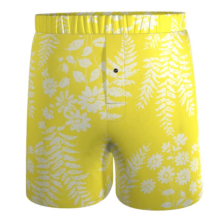 LIMAO-calecon-coton-jaune-imprime-vegetal-fleurs-upcycling