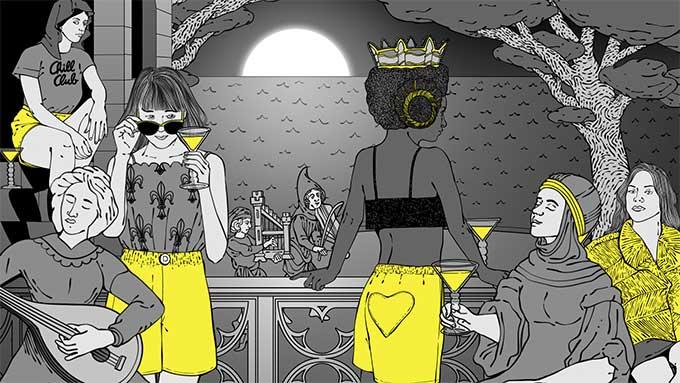 illustration-mode-poom-poom-short-femme-taille-haute-poche-coeur-damoiseaux