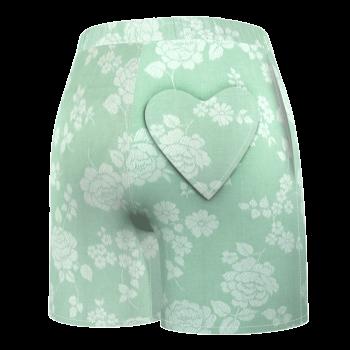 poom-poom-short-femme-taille-haute-damoiseaux-vert-clair-jade-imprime-roses